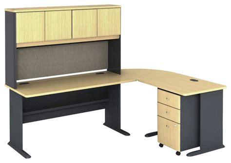 computer desk beech bush series a 5 l shape computer desk in beech