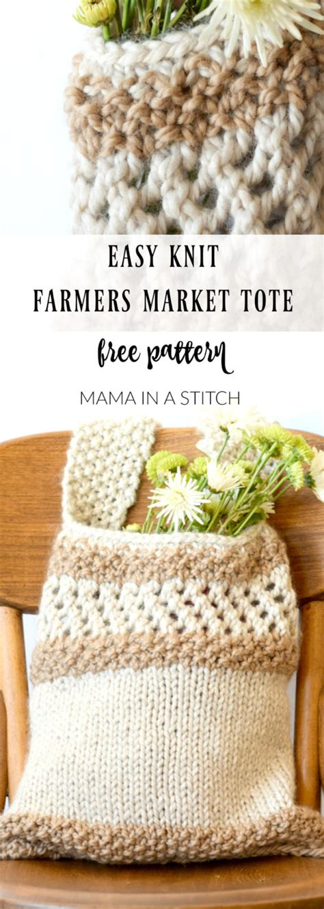 knitting market knitting pattern farmers market tote in a stitch
