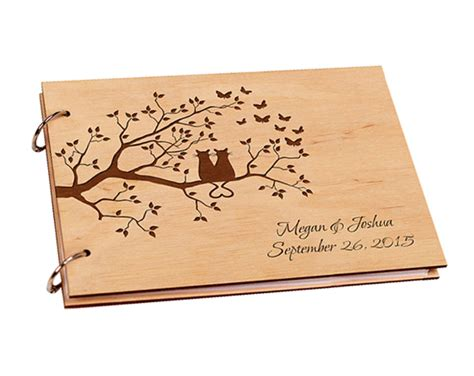 signature custom woodworking personalized wooden wedding guestbook engagement guest