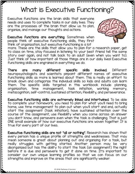 work for adults free executive functioning printables includes worksheets