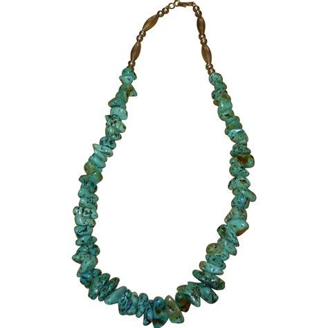 sterling silver beaded necklace vintage beaded turquoise sterling silver necklace from