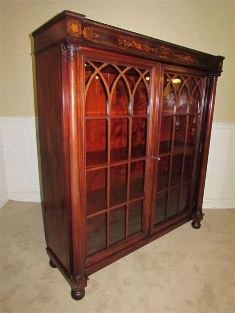 bookcase with locking doors antique bookcase cabinet locking glass doors inlaid