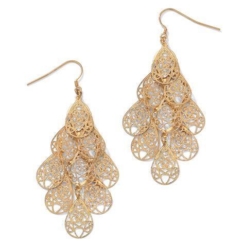 filigree chandelier earrings palmbeach jewelry filigree chandelier earrings in yellow