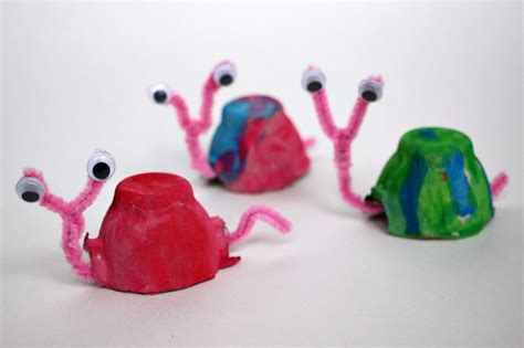 craft projects with egg cartons egg snail craft