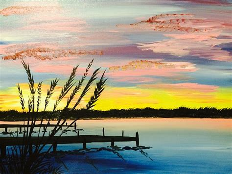 paint nite island ny paint nite sunset by the dock