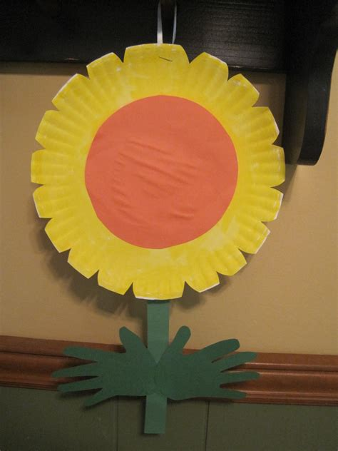 paper plate flower craft walk in the paper plate handprint flowers