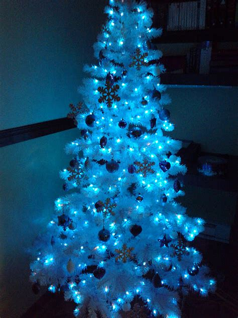 white tree with blue lights luhivy s favorite things silver white and blue