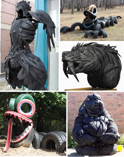 rubber st artists used tires recycled tire rubber and design shou fi