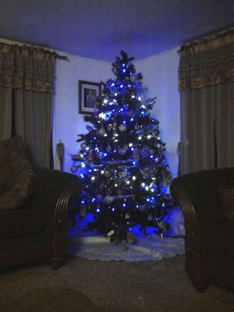 black light tree blue and white lights homesfeed
