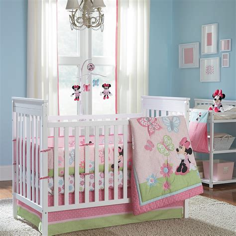 disney baby crib bedding minnie mouse butterfly charm 4 crib bedding set