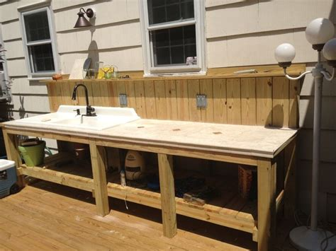 outdoor kitchen sink station outdoor sink and countertop area complete with garbage