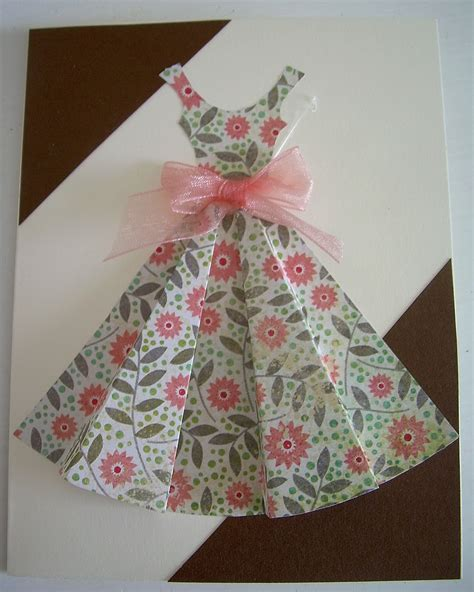 how to make a card dress yellow origami bird pink dress card