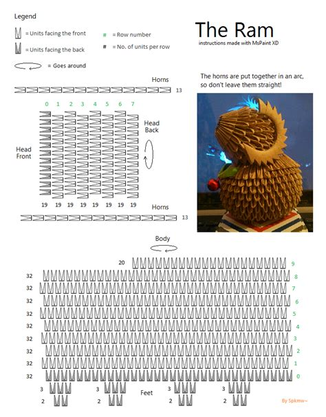 3d origami diagram 3d origami ram by spkmw on deviantart