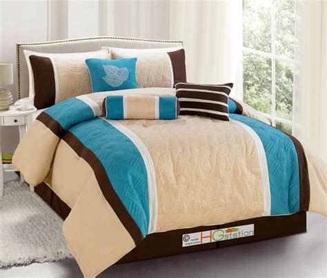 turquoise brown comforter sets 7 p quilted botanical garden comforter set turquoise blue