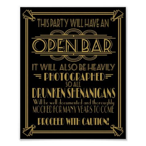Unisex Gift Ideas art deco open bar sign for 1920 s gatsby party poster zazzle