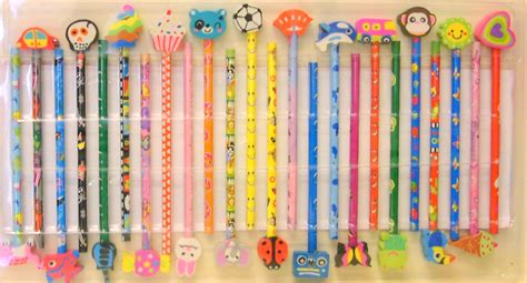 craft rubber st companies set 24 childrens pencils erasers school gift