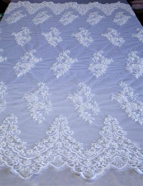 white beaded lace white mesh with embroidery beaded lace for all occasions
