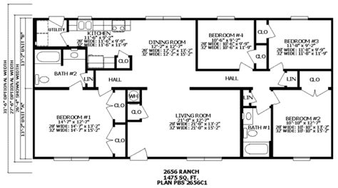 2 bedroom ranch house plans bedroom at real estate