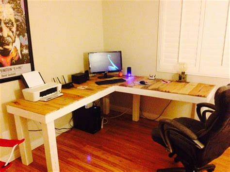 diy l desk diy pallet l shaped computer desk pallet furniture plans