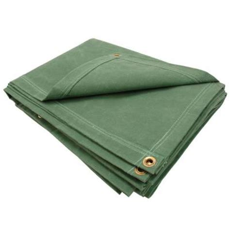 home depot paint tarp sigman 6 ft 8 in x 8 ft 8 in 12 oz green canvas tarp