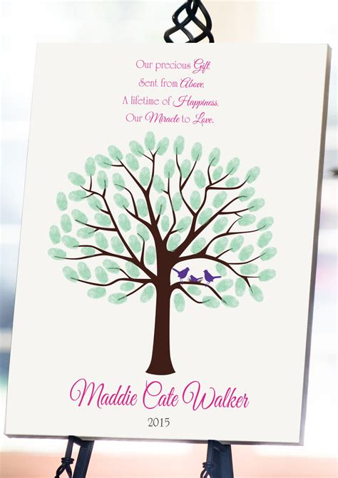 tree for baby baby shower fingerprint tree 8x10 baby shower guest book