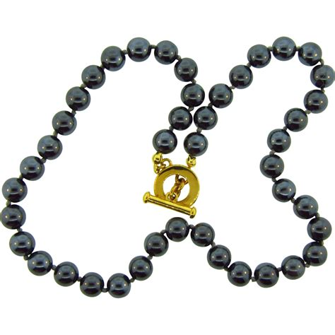 hematite bead necklace signed carolee hematite bead choker necklace from