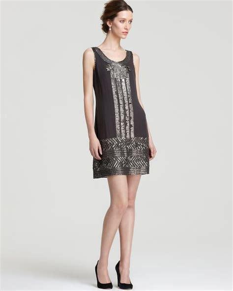 gray beaded dress papell beaded dress in gray graphite lyst