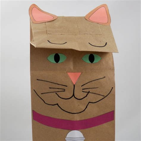 paper bag cat craft how to make paper bag puppets cat and owl puppets