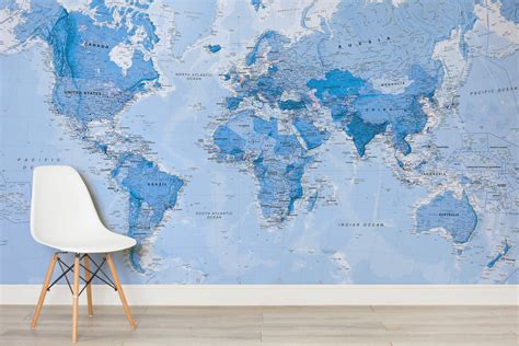 Forest Wall Mural shaded blue political map mural murals wallpaper