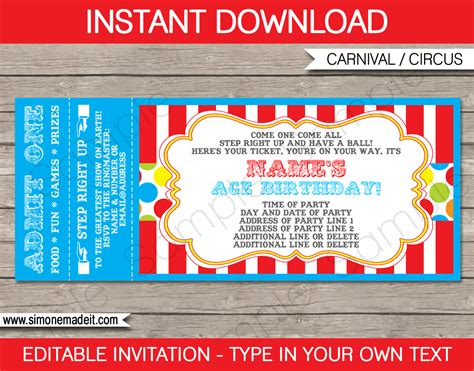 carnival ticket invitation template colorful 2 party