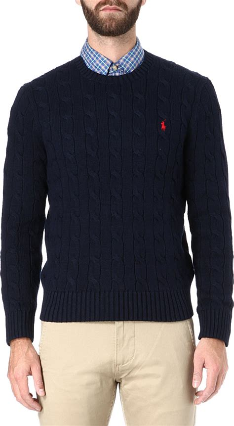 ralph navy cable knit jumper ralph cable knit crewneck jumper in blue for