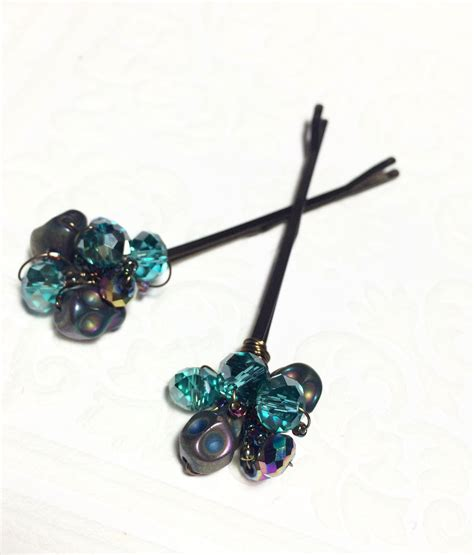 beaded hair accessories blue beaded hair pins grunge accessories for skull