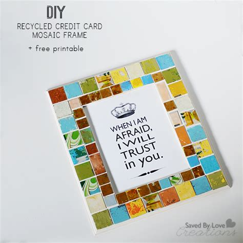 how to make a cool card mosaic frame from recycled gift cards free printable