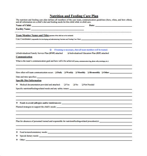 sample care plan template 9 free documents in pdf word