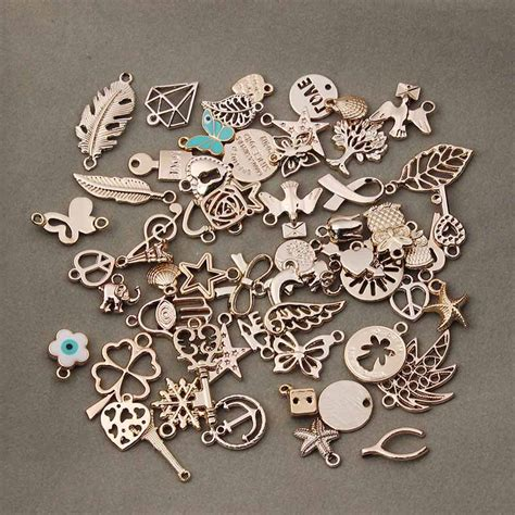 50pcs Lot Mixed Gold Plated Metal Floating Charms