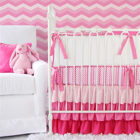 girly crib bedding girly zig zag ruffle crib bedding set by caden