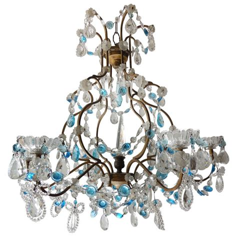 blue beaded chandelier blue prisms and beaded bows chandelier at