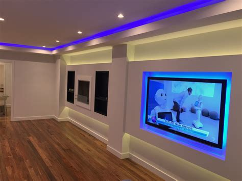 led light strips for room feature living room with led light and downlights