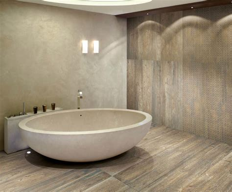 Ceramic Tile On Basement Floor by Wood Look Porcelain Tile Bathroom Contemporary With