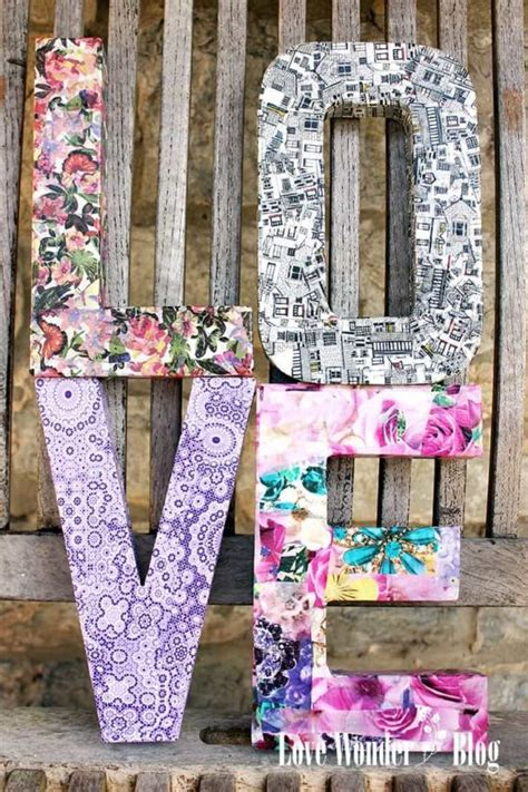 how to make decoupage letters monogram wall hanging ideas easy