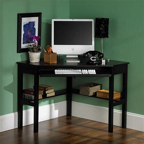 black corner computer desks for home corner computer desk black finish 6221914 hsn