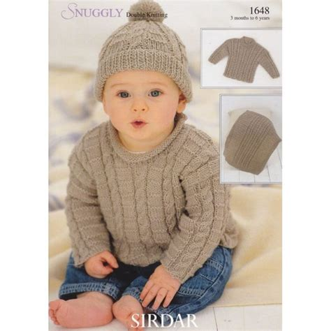 knit for boys 1648 sirdar snuggly dk boys cabled sweater hat and