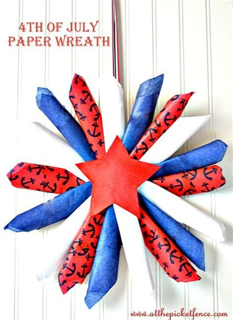 4th of july paper crafts 4th of july paper wreath tissue paper wreath july 4th