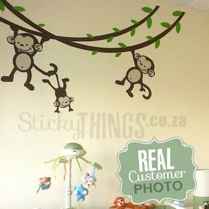 nursery monkey wall decals monkey nursery wall decal on stickythings co za