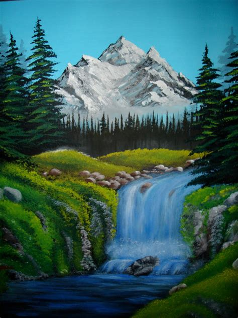 bob ross painting a waterfall items similar to original acrylic painting bob ross