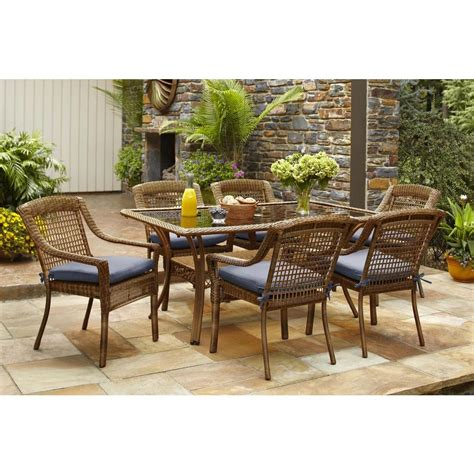 patio 7 dining set hton bay brown 7 all weather wicker