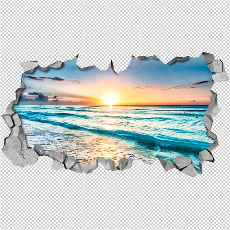 Stickers For Wall plage vue art mural 3d moonwallstickers com