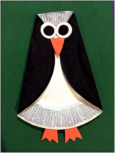 paper craft paper simple paper plate penguin free crafts