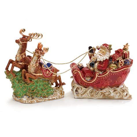 santa and reindeer figurines santa sleigh and reindeer figurine set