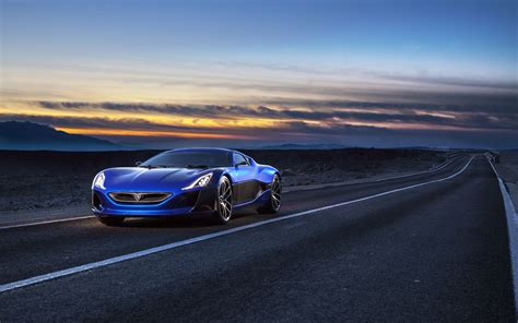 Car Wallpaper For Note 3 Neo by Rimac Electric Supercar Concept Blue Front View Wallpaper